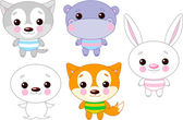 Cute funny baby animals set Vector illustration