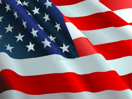 Illustration for An American flag flowing in the wind. - Royalty Free Image
