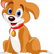 Vector illustration of a cute dog.Wearing a red co...