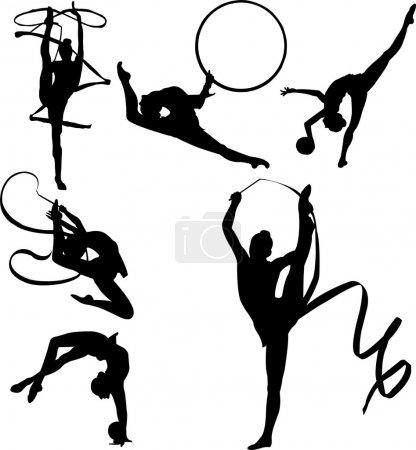 Illustration pour Silhouettes vectorielles de six gymnastes rythmiques avec appareils dont rubans et billes - image libre de droit