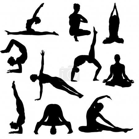 Illustration pour Variété de poses de yoga silhouettes. Idéal pour le site Web ou le design - image libre de droit
