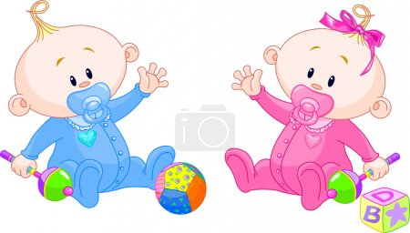 Illustration for Twin Baby Boy And Girl playing with rattles - Royalty Free Image