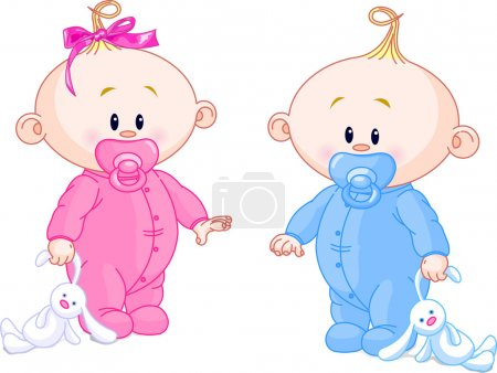 Photo for Twin Baby Boy And Girl With Pacifiers and Toys - Royalty Free Image