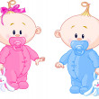 Twin Baby Boy And Girl With Pacifiers and Toys...