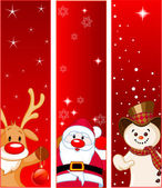 Vector Christmas Banners with snowmen Santa and Rudolf