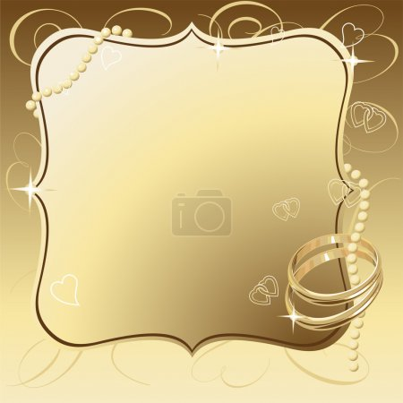Illustration for Illustrated vector Beautiful Wedding Rings Frame Background - Royalty Free Image