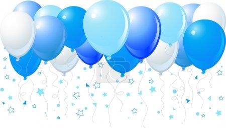 Illustration pour Illustration vectorielle du bouquet de ballons bleus volant vers le haut - image libre de droit