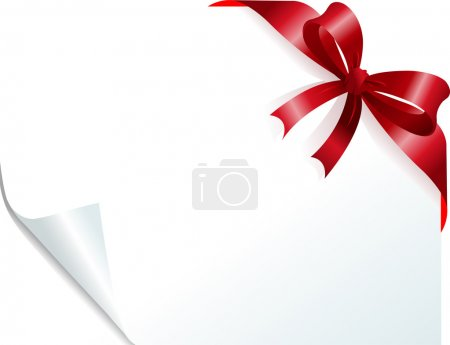 Illustration for Page corner with red ribbon on curled paper. Place for copy/text. - Royalty Free Image