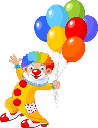 Illustration for The funny clown holding balloons. Vector illustration - Royalty Free Image