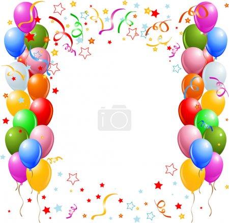 Illustration pour Illustration vectorielle de la bordure des ballons multicolores et des confettis - image libre de droit