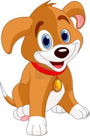 Illustration pour Illustration vectorielle d'un chiot mignon, portant un collier rouge avec une étiquette de chien . - image libre de droit