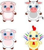Cute funny baby farm animals set