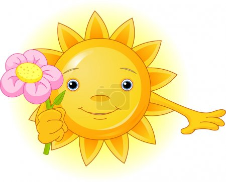 Illustration for Cartoon Character of Cute Summer Sun giving a flower - Royalty Free Image