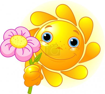 Cute Summer Sun giving a flower