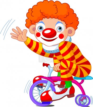 Clown on three-wheeled bicycle