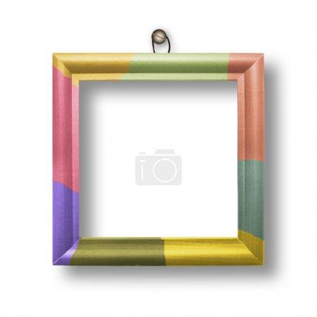 Photo pour Cadre multicolore en bois pour le portrait sur fond blanc isolé - image libre de droit