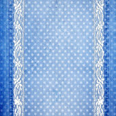 Abstract blue jeans background with lace