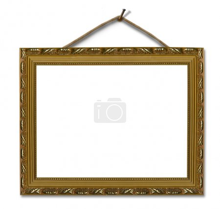 Picture gold frame on the white isolated