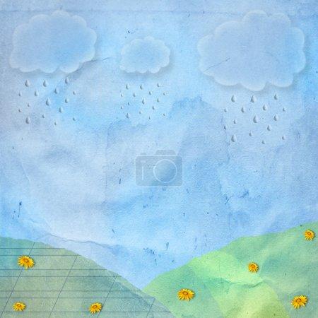 Foto de Tarjeta de felicitación o Enhorabuena con la lluvia y las nubes - Imagen libre de derechos