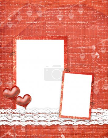 Valentines day card with hearts