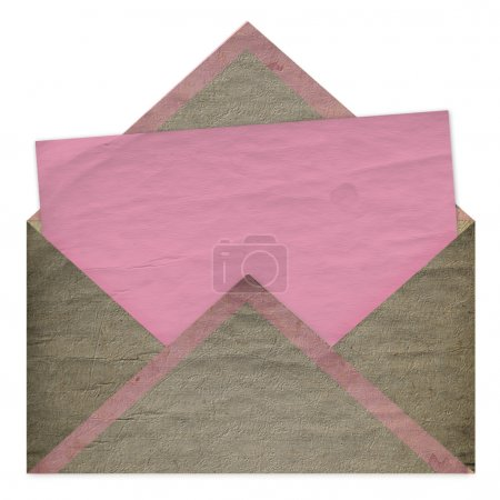 Photo pour Ensemble de papier rose vintage pour félicitations ou invitation et enveloppe - image libre de droit