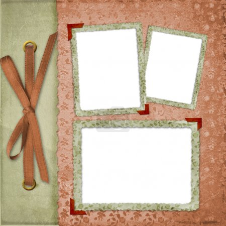 Three frames with ribbons and bow
