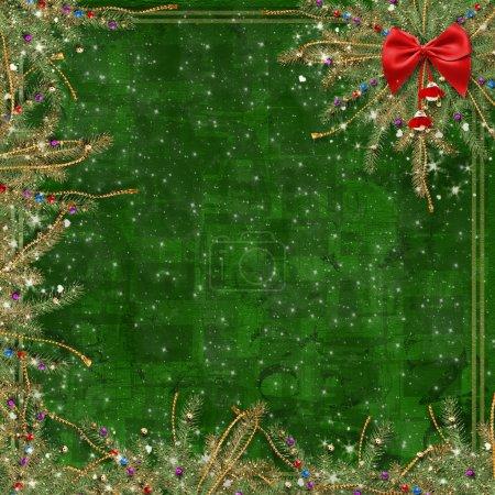 Photo pour Carte de voeux pour les vacances, avec un ruban rouge et des branches d'épinette - image libre de droit