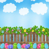 Pastel background with colored eggs
