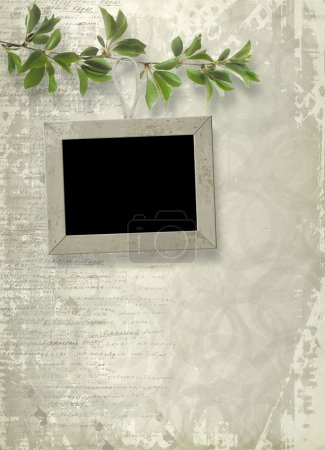 Photo for Wooden frame hanging from a tree branch on the grunge background - Royalty Free Image