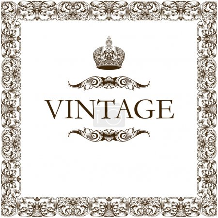 Photo for Vintage frame decor crown vector - Royalty Free Image