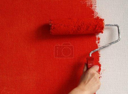 Photo pour Mur de peinture en rouge - image libre de droit