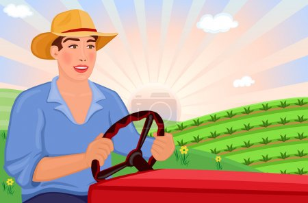 Illustration for Happy farmer driving his tractor on the fields on a beautiful spring day. Vector file, saved as EPS AI8, all elements layered and grouped for easy editing. - Royalty Free Image