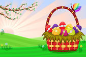 Celebrating Easter with festive basket and decorated eggs On a beautiful spring day Vector illustration saved as EPS AI8 all elements grouped
