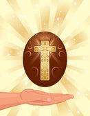 Easter religious card with golden Christian cross and decorated egg Vector illustration saved as EPS AI8 all elements layered and grouped