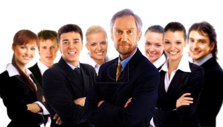 Photo pour Homme d'affaires et son équipe isolés sur fond blanc - image libre de droit