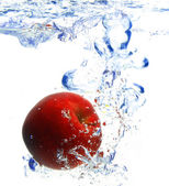 Red apple under water