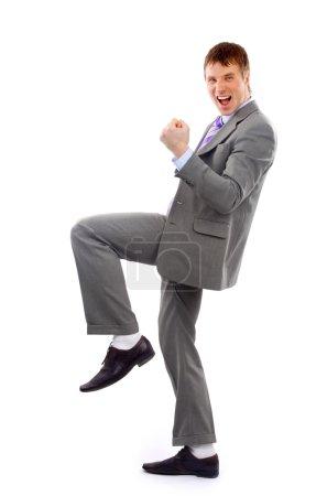 One very happy energetic businessman