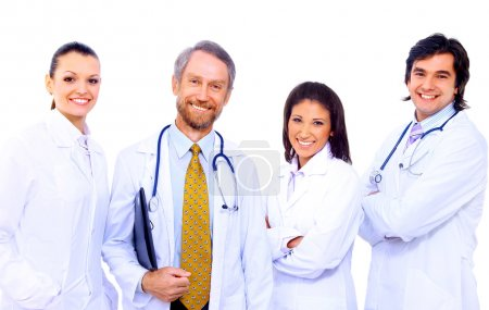 Portrait of group of smiling hospital co