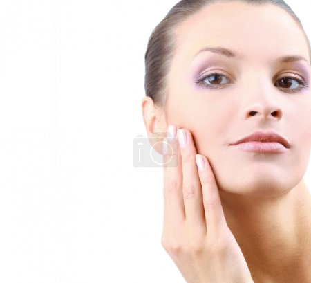 Photo for Portrait of young adult woman with health skin of face - Royalty Free Image