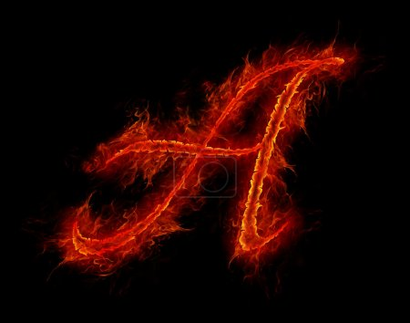 Fire font. Letter A from alphabet