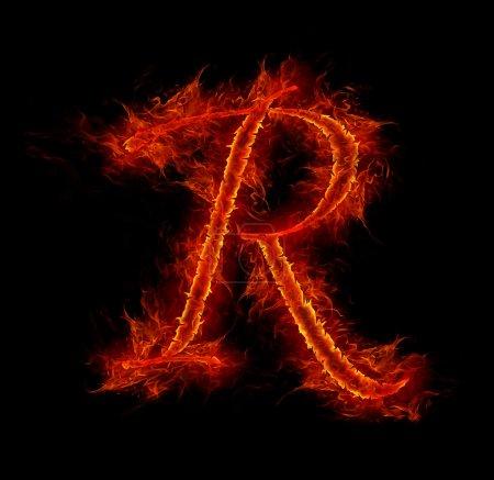 Feuerfontäne. Buchstabe r aus Alphabet