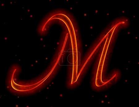 Feuerfontäne. Buchstabe m aus Alphabet
