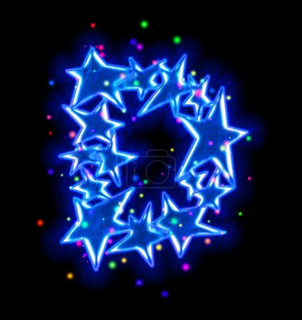 Christmas star alphabet - letter D
