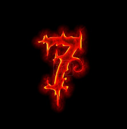 Gothic fire font - number seven