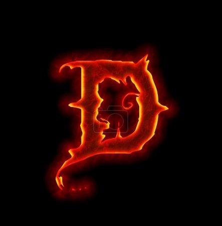 Gothic fire font - letter D