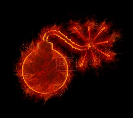 Fire bomb symbol isolated on black