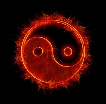 Ying yang symbol isolated on black