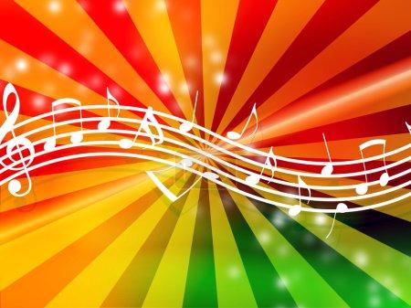 Photo pour Notes de musique fluides sur un fond lumineux multicolore - image libre de droit