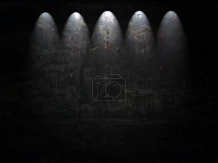Dark Room With Five Spotlights