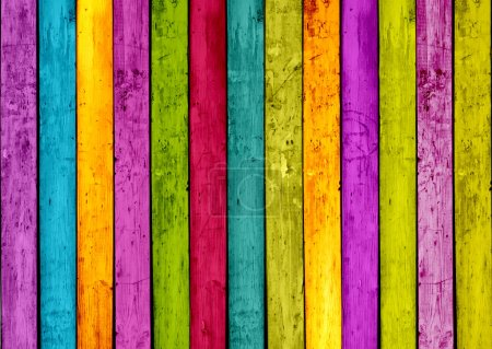 Photo for Colorful wood planks background - Royalty Free Image